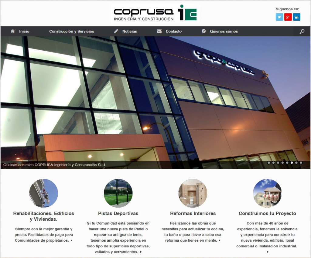 Página de inicio de la nueva web de COPRUSA Ingeniería y Construcción, SLU