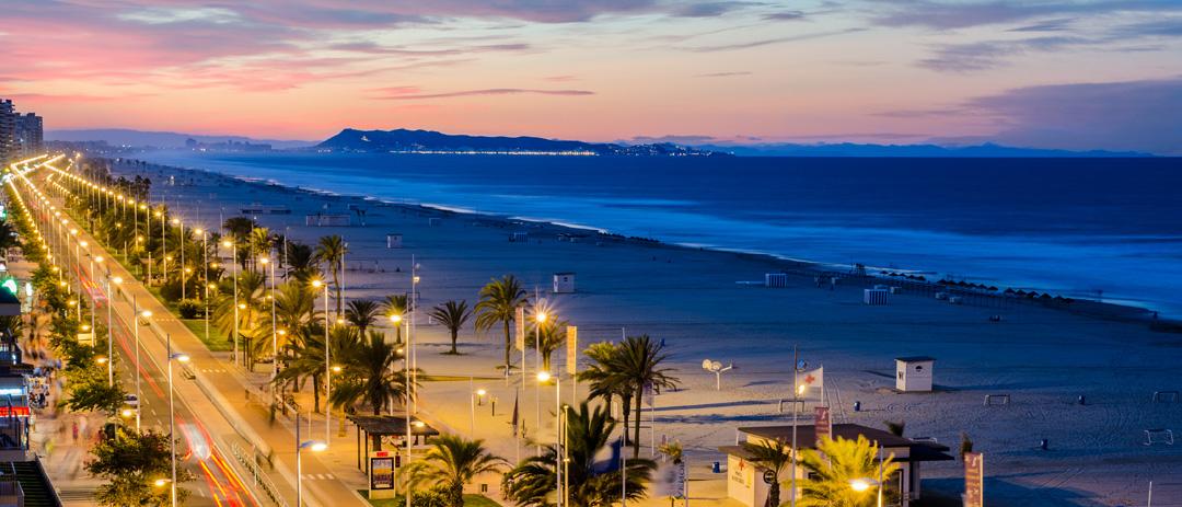 Playa de Gandia. Gandia es la ubicación central de COPRUSA Ingeniería y Construcción, SLU