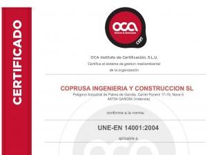 Certificado medioambiental COPRUSA IC UNE-EN 14001